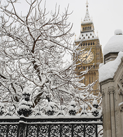 Snowy London and Big Ben